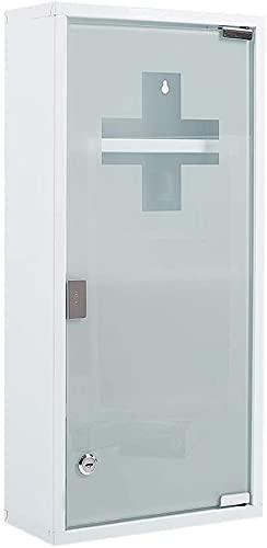 Zedelmaier Medizinschrank aus Edelstahl 4 Fächer mit Glas Tür 57 x 27 x 12 cm (Weiß - 4 Fächer)
