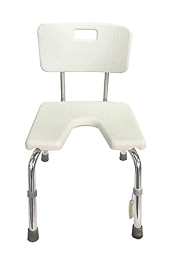 W.w.o. 1017 - U-Form Duschsitz Polyban mit Rückenlehne, 70-80 cm Höhe, Weiß, Unisex