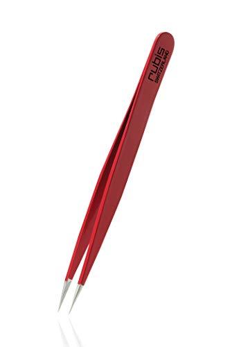 Rubis Splitterpinzette - Spitze Pinzette für Splitter und eingewachsene Haare - Spitzpinzette (Rot)