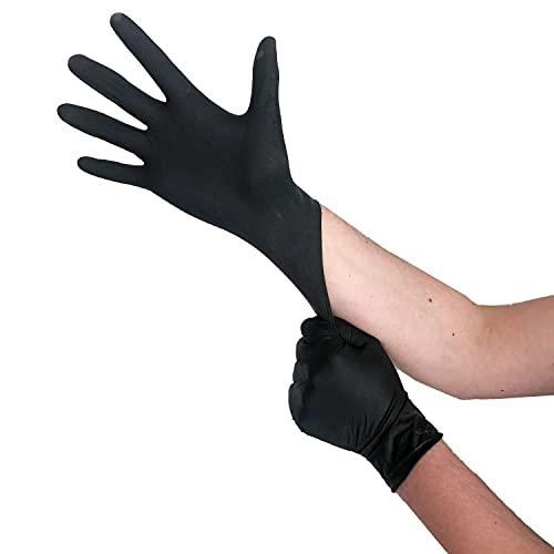 Einweghandschuhe Schwarz Latex, Einmalhandschuhe L, 100 Stück, puderfrei, Handschuhe Einweg,...