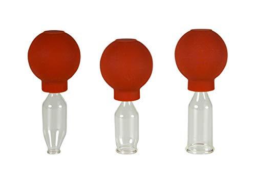 Lauschaer Glas 3er Schröpfglas-Set mit Ball 10-15-20mm zum professionellen, medizinischen,...