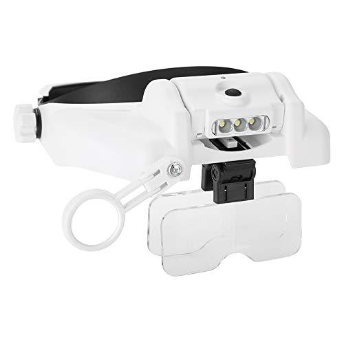 XiangXin Super langlebige, leicht zu tragende Kopflupe, wasserdichte LED-beleuchtete Kopflupe,...