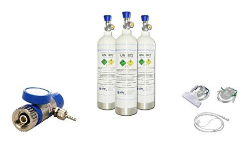 Sauerstoff-ALL Inklusive - 3 x 1,8 Liter medizinischer Sauerstoff (Aluminiumflasche) mit...