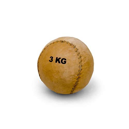 Vinex Robuster, runder Medizinball aus Leder mit 2 Panelen - 3 kg