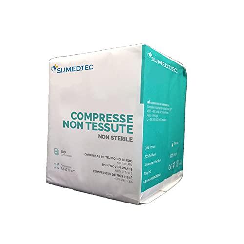 Sumedtec - 100 nichtsterile Mullwindeln TNT 10x10 4-lagig Box mit 100 Einheiten CE, hergestellt in...