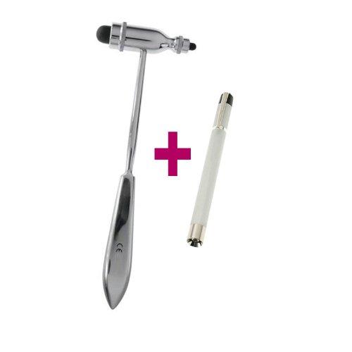 Reflexhammer Perkussionshammer Typ Trömner 25cm + Hochwertige Diagnostikleuchte Aluminium silber