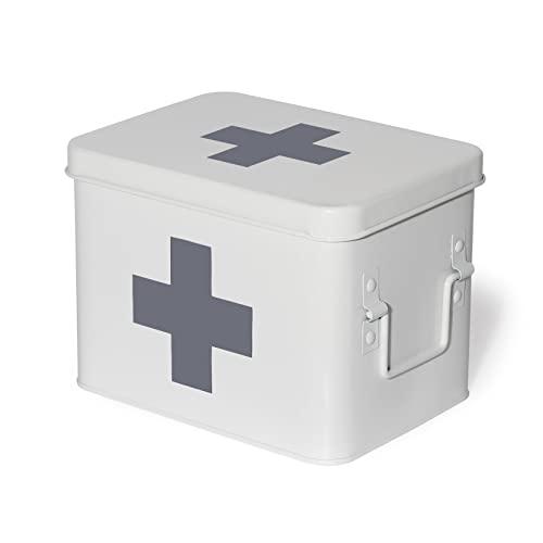 Theo&Cleo Medizin Box Metall, Erste Hilfe Kasten Koffer Schrank, Arzneischrank Medizinkoffer Retro,...