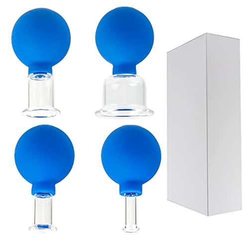MOPOIN Schröpfgläser Glas, 4 Teilige Schropfglaser Cellulite Schröpfglas mit Saugball...