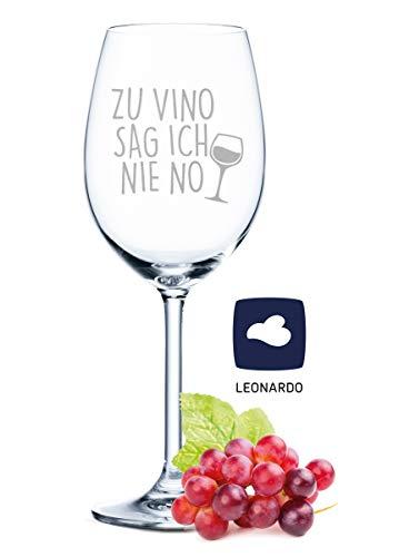 Leonardo Weinglas mit Gravur - Zu Vino sag ich nie no - Geschenk für Hobby-Sommelier &...