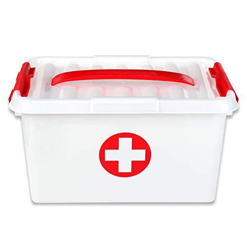 Schramm® Medikamentenbox Medizinbox Erste Hilfe Box Aufbewahrungskasten Medizin Box Arzneimittelbox...