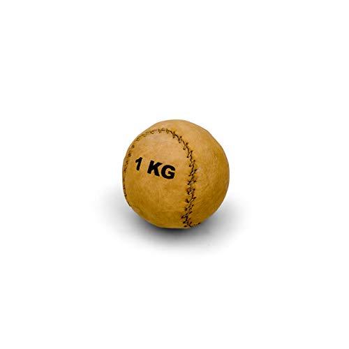 Vinex Robuster, runder Medizinball aus Leder mit 2 Panelen - 1 kg