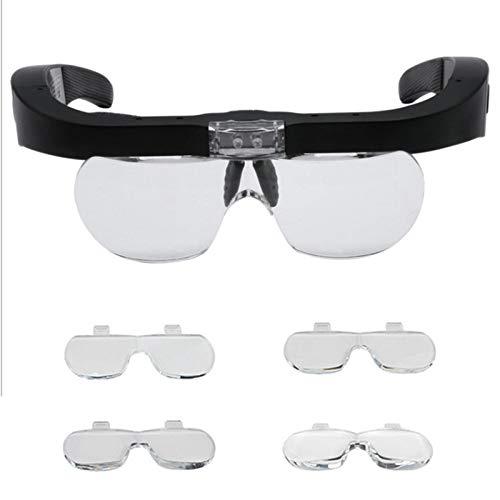 Lupenbrille LED Kopflupe mit Licht Wiederaufladbare Kopfband Lupe mit Abnehmbare LinsenHände Frei...