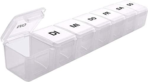 Medikamenten-Box für 7 Tage Pillendose 7 Fächer Tablettenbox 7 Tage Deutsch, SUKUOS XL Groß
