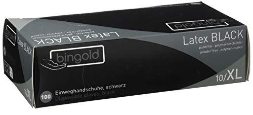 Bingold 619004 Latex Black Einmal Handschuhe, Puderfrei, Größe XL, 100 Stück