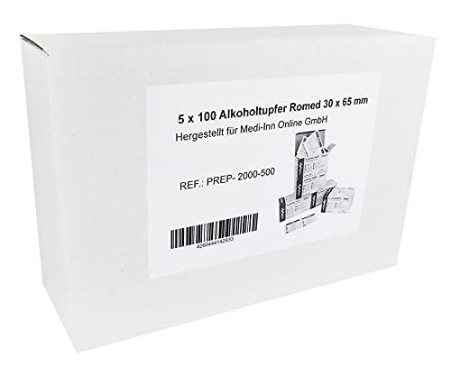 Alkoholtupfer 30 x 65 mm Tupfer Alkoholpads verschiedene Mengen (500 Stück)