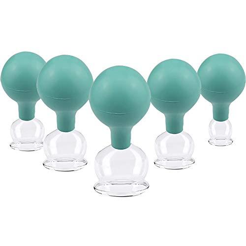 5 Stück verschiedene Größen Schröpfglas aus Echtglas, Feuerlosen Schröpfen mundgeblasen,...