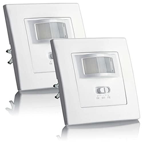 SEBSON® Bewegungsmelder Innen Unterputz - 2er Set - LED geeignet, Wand Montage, IR Sensor...