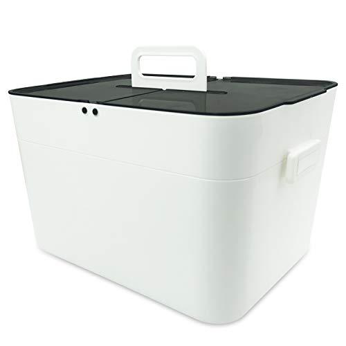 Medizinbox Plastik Erste Hilfe Box, Aufbewahrungskasten Medizin Box, 2 Ebene Medizinkoffer Erste...