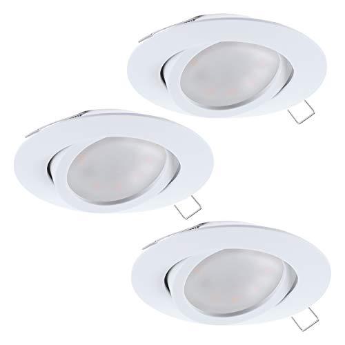 EGLO 3er-Set Einbaustrahler Tedo, Spots Set aus Aluminiumguss in weiß, 3 Einbauleuchten mit GU10...
