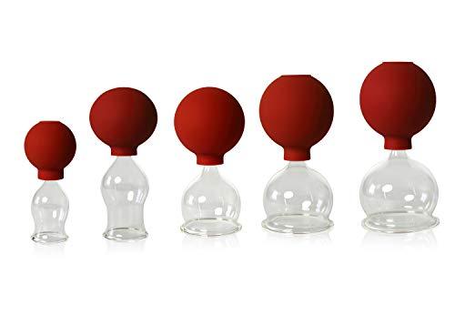 5er Schröpfglas-Set mit Ball 25-35-45-55-60mm zum professionellen, medizinischen, feuerlosen...