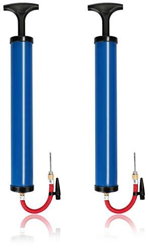 com-four® 2X Ball-Pumpe mit verschiedenen Adaptern, Blaue Hand-Luftpumpe, Luft-Pumpe für...