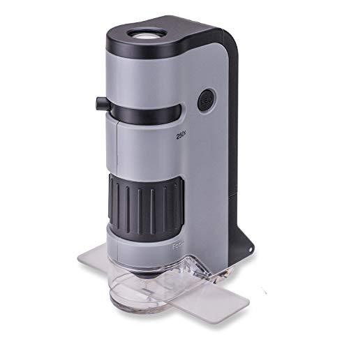 Carson MP-250 MicroFlip 100x-250x Taschenmikroskop mit Smartphone-Adapter für Fotos und Videos