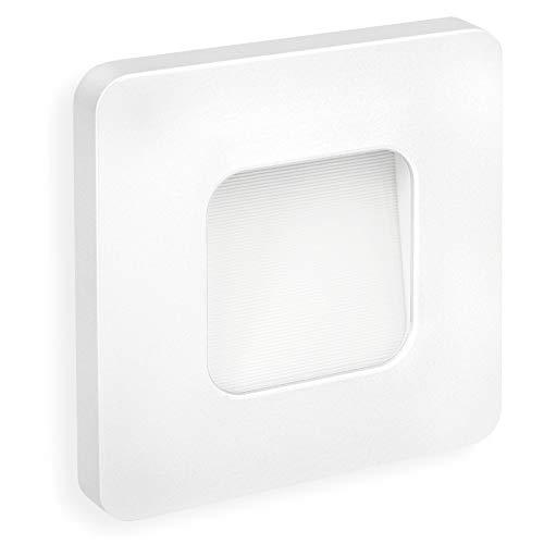 SSC-LUXon® LED Wandeinbauleuchte DEVA weiß quadratisch - Treppen & Stufenleuchte 230V (1W, IP20,...