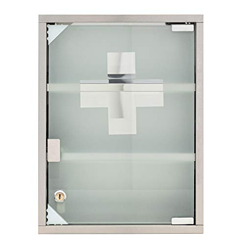 Mack Medizinschrank Arzneischrank Medikamentenschrank Hausapotheke aus Edelstahl, 30 x 40 x12cm...
