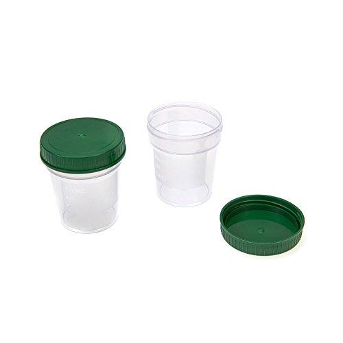 Urinbecher mit grünem Schraub-Deckel 100 Stück