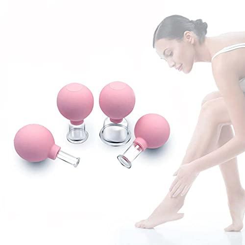 4PCS Mini Face Cupping Massager, Schröpfgläser mit Saugball aus Echtglas für professionelles,...