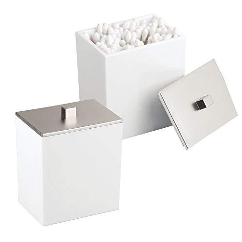 mDesign 2er-Set Wattepad-Spender und Wattestäbchen-Behälter – modernes Aufbewahrungsglas mit...