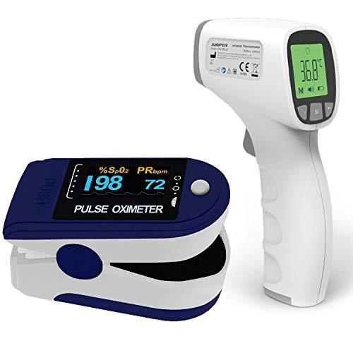 Pulsoximeter Pulox PO-200 Solo dunkelblau Set mit Infrarot Thermometer JPD-FR202