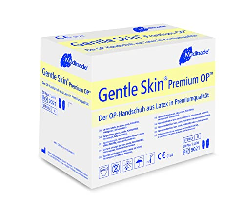 Meditrade 90218W Gentle Skin Premium OP Latex Handschuh, Steril, Puderfrei, Größe 8 (50-er pack)