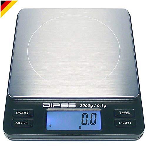 Dipse Digitale Laborwaage TP-2000 x 0,1 - Feinwaage mit 0,1g genauer Auflösung Digitalwaage bis...