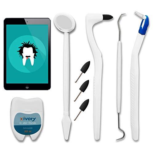 Xivory 8in1 Zahnpflege Set 4x professioneller Zahnsteinentferner, Zahnseide, Zahnspiegel,...