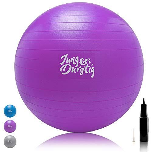 Jung & Durstig Gymnastikball inkl. Luftpumpe | Yoga und Pilates Ball 75 cm bis 150 kg belastbar |...