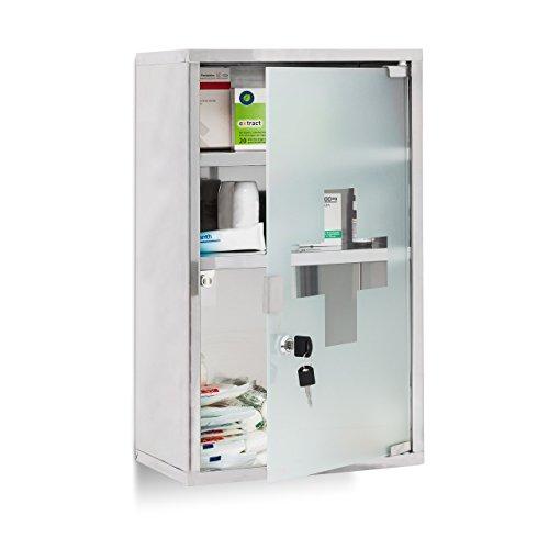 Relaxdays EMERGENCY Medizinschrank XL extra tief aus Edelstahl HxBxT: ca. 50,5 x 30 x 18 cm mit 3...