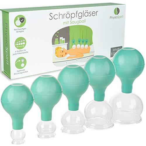 PhysioSpirit PREMIUM Schröpfgläser - hochwertige Saugglocken aus Echtglas - Schröpfglas gegen...