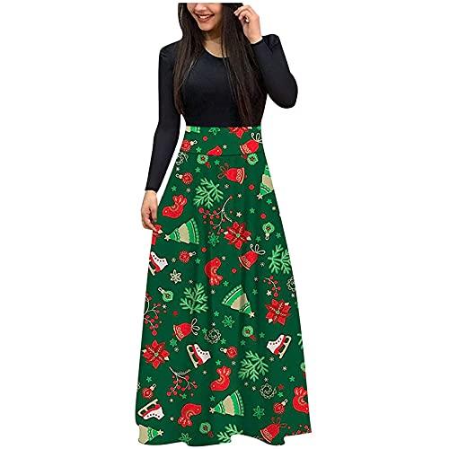 Kobay Damen Winter Langarm Rock Lässig Mode Kleider Bequem Weihnachten Lose Hohe Taille Hochzeit...
