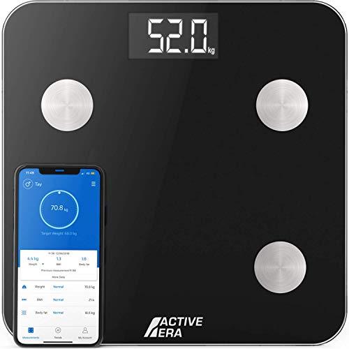 ACTIVE ERA Körperfettwaage - Digitale Personenwaage mit App - Smart Bluetooth Waage für...