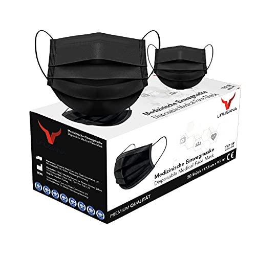 URUSANA 50 Stück Medizinische Masken Schwarz OP Masken Schwarz CE Zertifiziert EN14683 TYP IIR BFE...