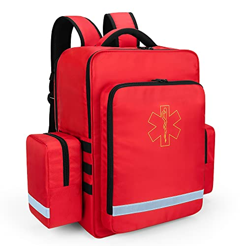Trunab Notfallrucksack Leer Rettungstasche Rot, Rucksack für Erste Hilfe, Arzttasche Hausbesuch mit...
