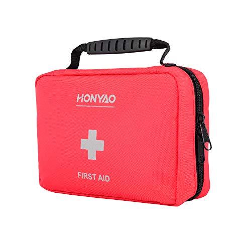 HONYAO Erste-Hilfe Set, Kompakt First Aid Kit mit Premium-Tasche für Notfälle in Auto Motorrad...