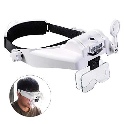 Beleuchtete Kopflupe mit abnehmbaren LEDs, Freisprech-Lesekopflupen Visier Headset Helm Lupenlupe...