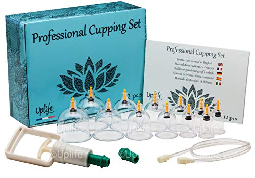 Uplife Chinesisches Schröpftherapie-Set, 12 Vakuum Luft-Saugnäpfe mit Pumpgriff,...