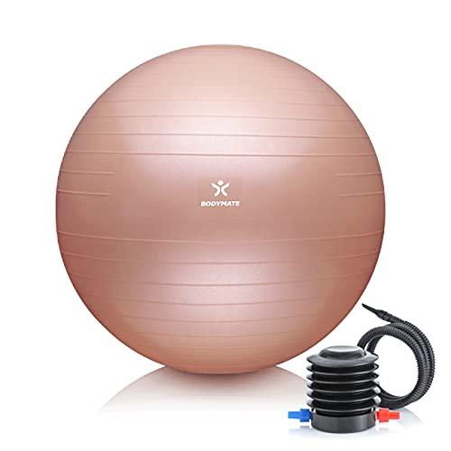 BODYMATE Gymnastikball Sitzball Trainingsball mit GRATIS E-Book inkl. Luft-Pumpe, Ball für Fitness,...