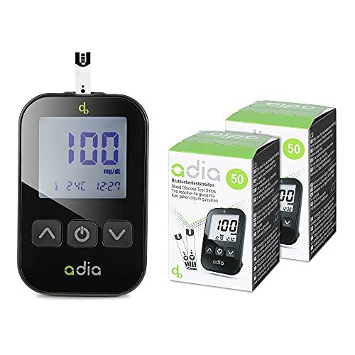 adia Diabetes-Starter-Set inkl. Blutzuckermessgerät (mg) mit 110 Blutzuckerteststreifen, Stechhilfe...