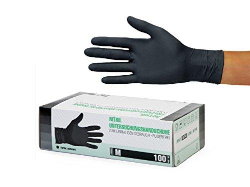 Nitrilhandschuhe Karton (M, schwarz) Einweghandschuhe, puderfrei, ohne Latex, unsteril, schwarz,...