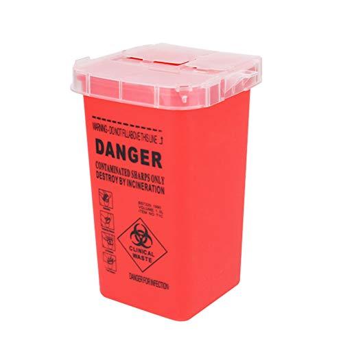 Artibetter Medizinischer Entsorgungsbehälter mit Nadel und sicherem Verschluss (rot)