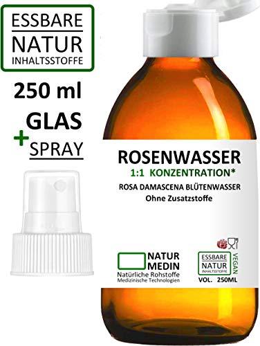 ROSENWASSER GLAS + SPRAY, LEBENSMITTEL-QUALITÄT, 100% naturrein, 1:1 Konzentration, Rosa damascena...